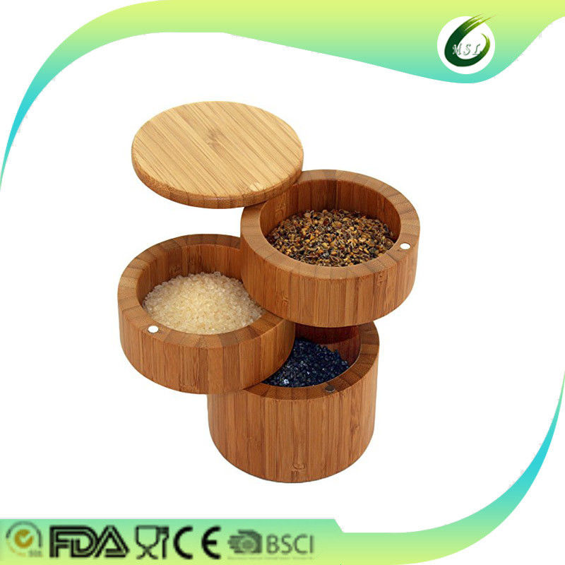 Hotel Round Bamboo Salt Box Pepper Stacking Pots For Secure Strong Storage
